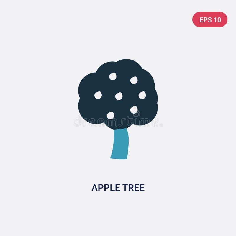 De boom vectorpictogram van de twee kleurenappel van seizoenconcept het geïsoleerde blauwe vector het tekensymbool van de appelbo vector illustratie