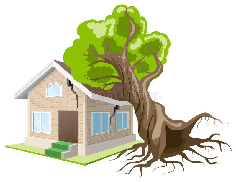 De boom viel op huis De verzekering van het huis vector illustratie