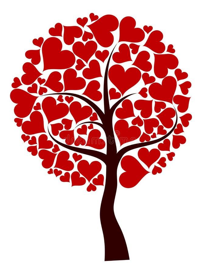 De boomachtergrond van valentijnskaarten, vector stock illustratie
