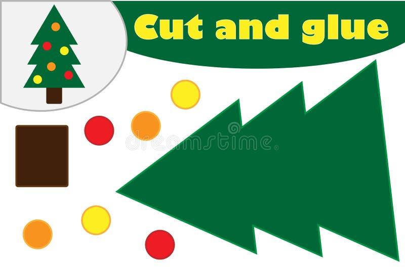 De boombeeldverhaal van de Kerstmisdecoratie, onderwijsspel voor de ontwikkeling van peuterkinderen, gebruiksschaar en lijm om te vector illustratie