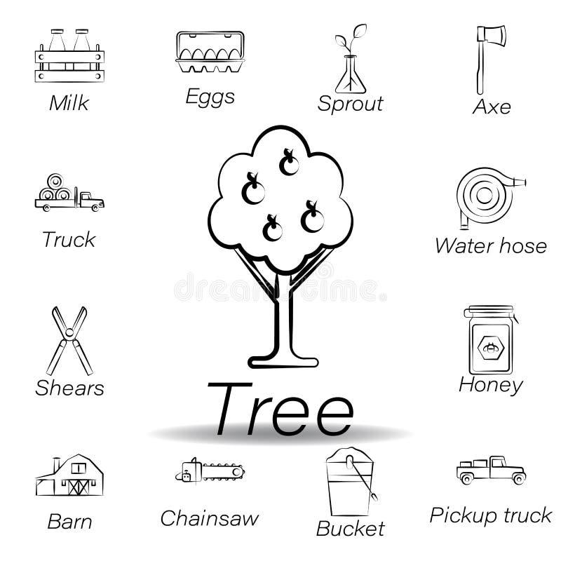 De boomhand trekt pictogram Element van de landbouw van illustratiepictogrammen De tekens en de symbolen kunnen voor Web, embleem stock illustratie