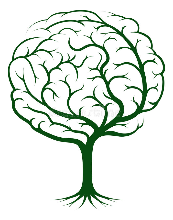 De boomillustratie van hersenen royalty-vrije illustratie