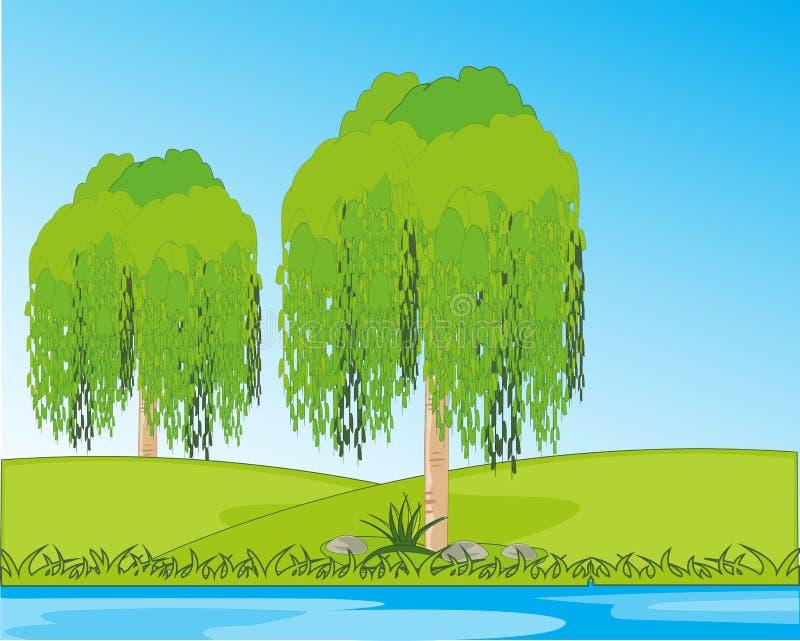 De de boomkatwilg van het jaarlandschap kalmeert aan wal yard stock illustratie