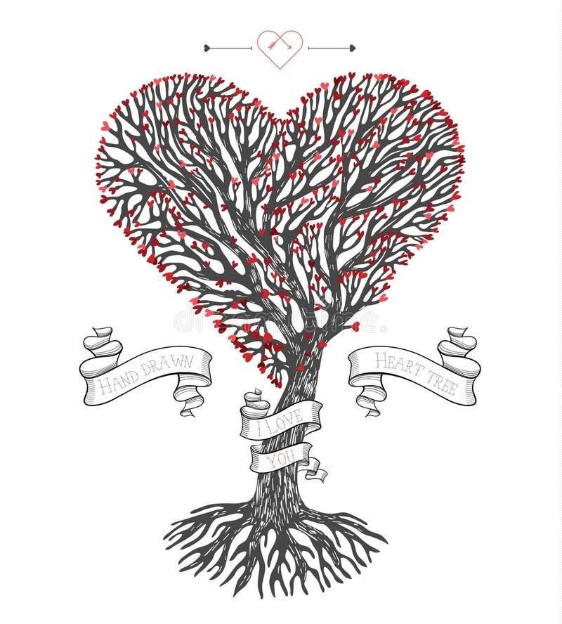 De boomkroon zoals hart met doorbladert stock illustratie