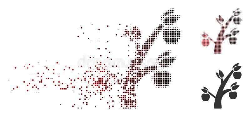 De Boompictogram van Apple van het stofpixel Halftone royalty-vrije illustratie