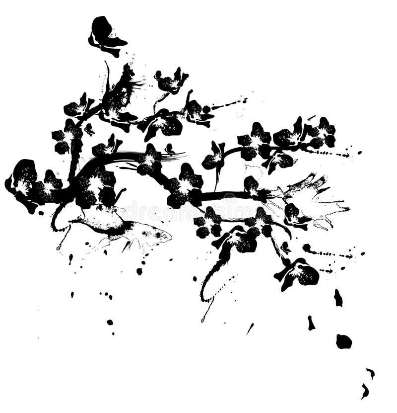 De boomsilhouet van de kers royalty-vrije illustratie