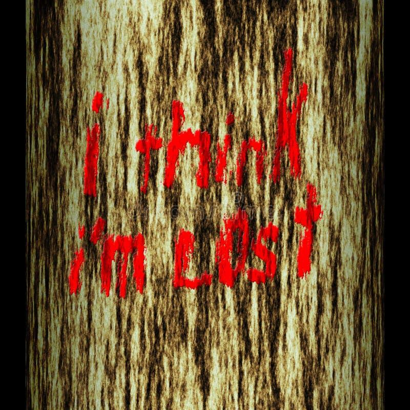 De boomstam van de boom: ik denk ik word verloren royalty-vrije illustratie