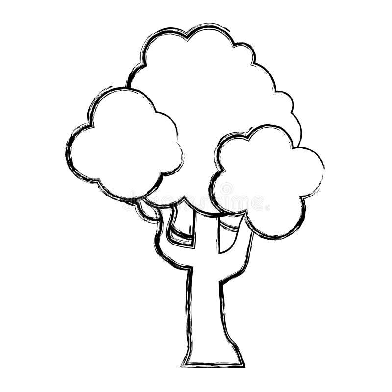 De de boomsteel van de Grungeaard vertakt zich bladeren stock illustratie