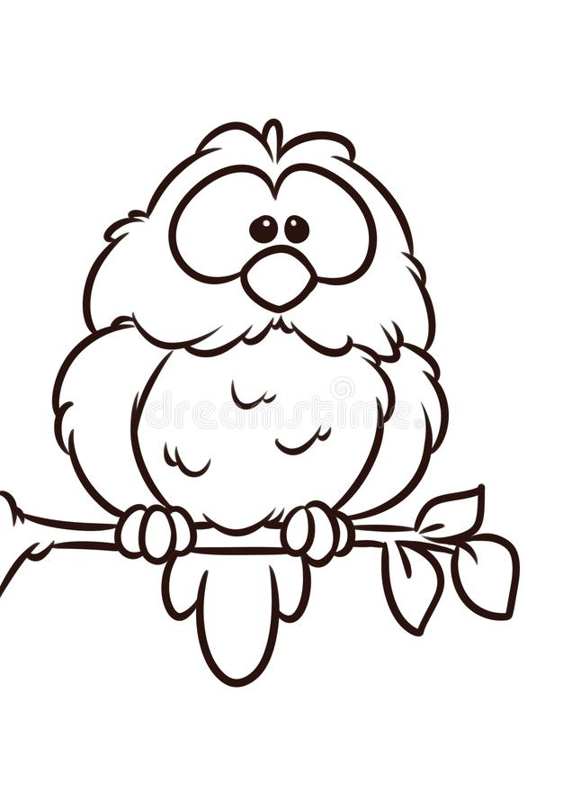 De de boomtak van de uilvogel zit de dierlijke kleurende pagina van het karakterbeeldverhaal royalty-vrije illustratie