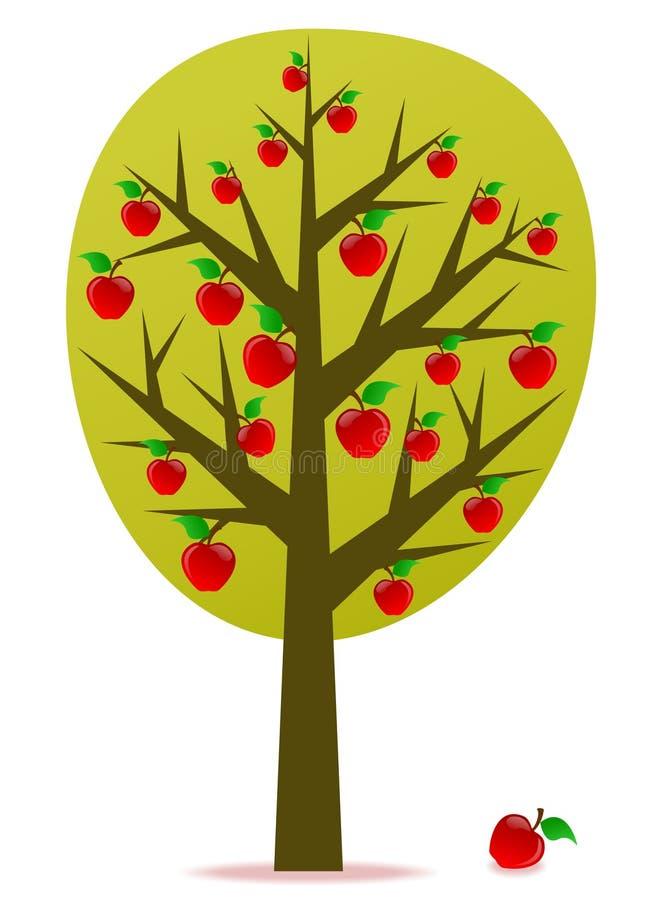 De boomvector van de appel stock illustratie