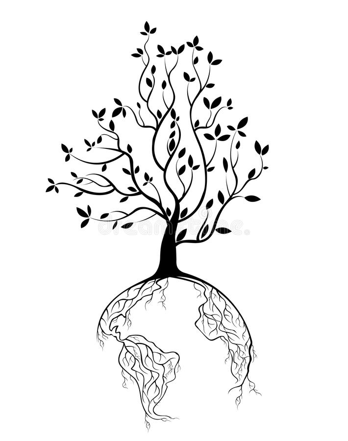 De boomwortels van het bolconcept royalty-vrije illustratie