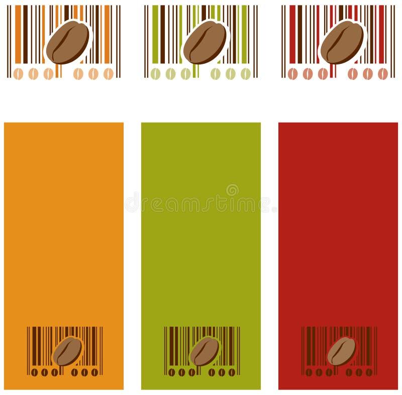De boon van de koffie en streepjescode royalty-vrije illustratie