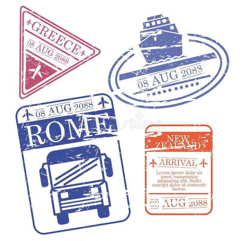 De boot en de bus en het vliegtuig reizen zegels Griekenland Rome Nieuw Zeeland in kleurrijk silhouet royalty-vrije illustratie