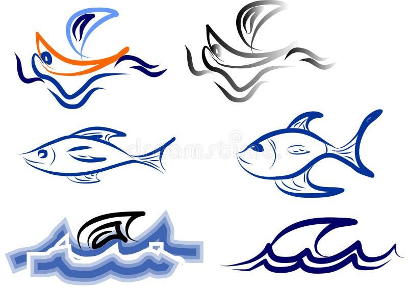 De boot en de vissen van het embleem vector illustratie