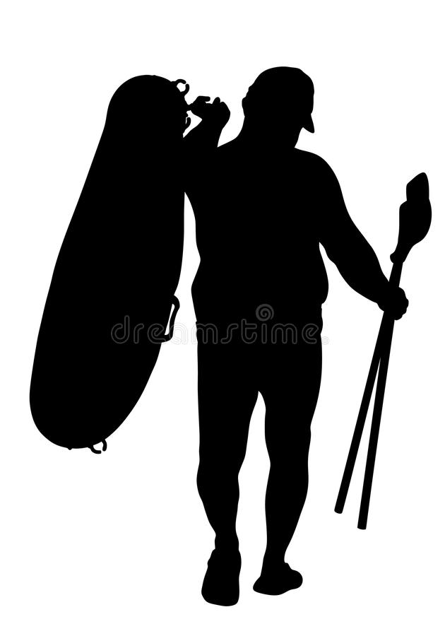 De boot rubberboot van de mensen dragende rij en van het peddelssilhouet illustratie Strand grappige dag vector illustratie