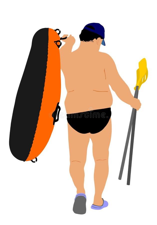 De boot rubberboot van de mensen dragende rij en peddelsillustratie Strand grappige dag stock illustratie