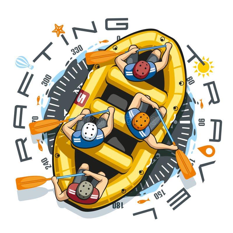 De Boot van de Raftingsreis royalty-vrije illustratie