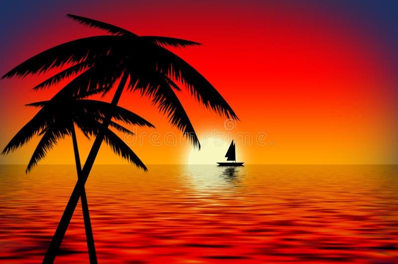 De Boot van de zonsondergang stock illustratie