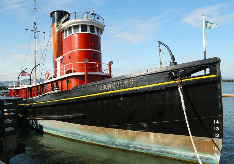 De boot van Hercules van de stoomsleepboot in San Francisco Maritime National Historical Park stock afbeeldingen