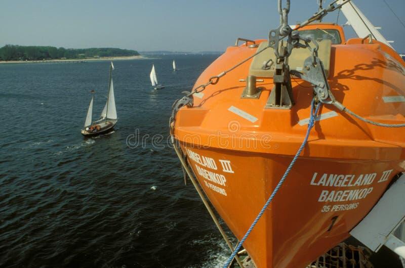 De boot van de het levensredding aan boord van Deense veerboot royalty-vrije stock afbeelding
