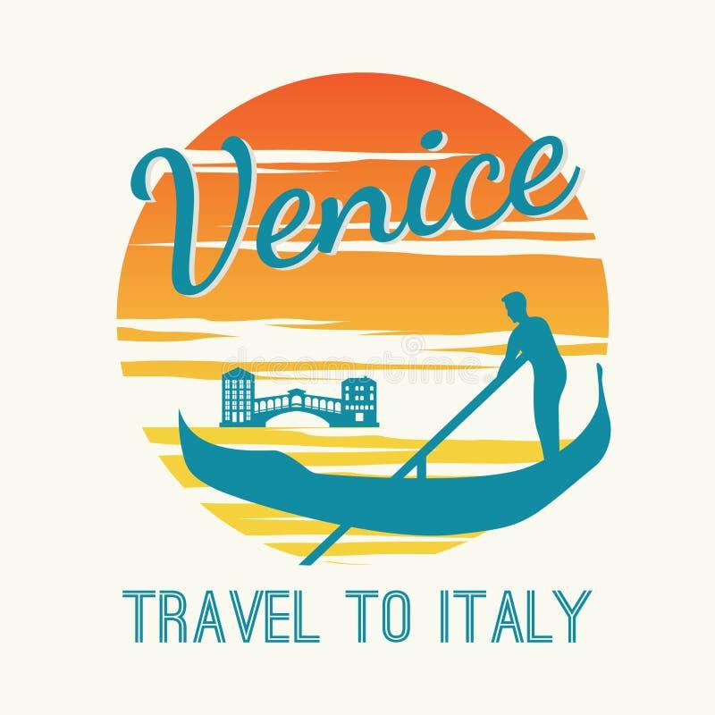 De boot van de mensenrij in Venetië, beroemd oriëntatiepunt van uitstekende en klassieke kleur de van Italië, op zonsondergangtij royalty-vrije illustratie