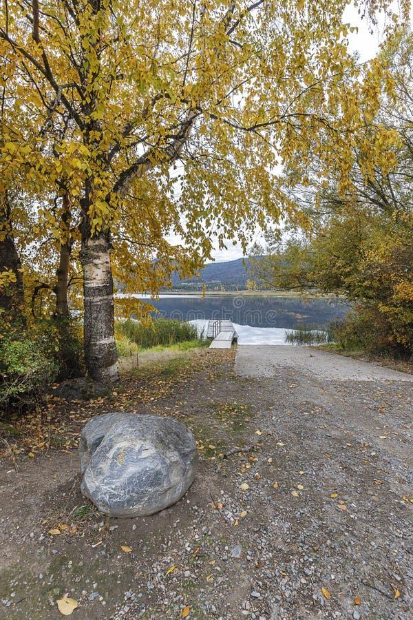 De bootlancering bij meer het Noord- van Idaho stock afbeeldingen