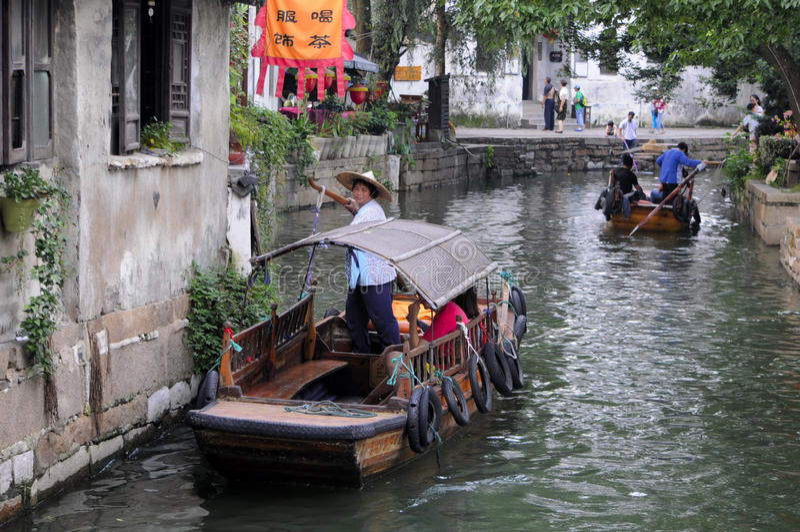 De bootrit van China van de Tonglistad stock foto