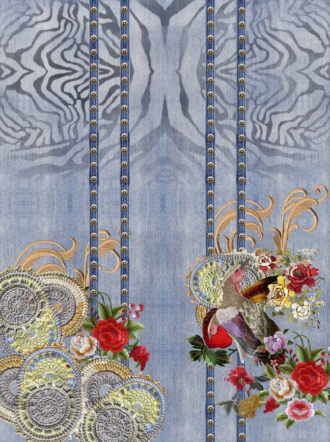 De borduurwerkvogel bloeit rode barokke dierlijke druk stock afbeeldingen