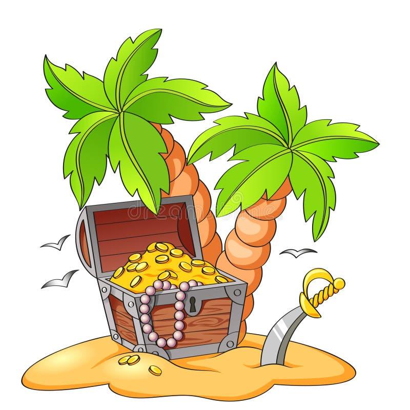 De borst van de piraat` s schat op verlaten strand met palmen vector illustratie