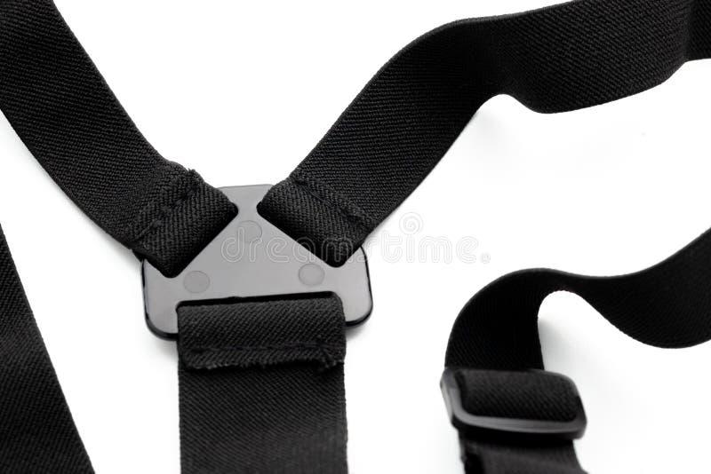 De borst zet deel voor extreme actiecamera op op witte achtergrond toebehoren voor actienok stock fotografie