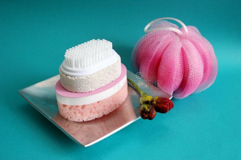 De borstel en de sponsen van het puim bij een kuuroord - gezondheid en schoonheid stock afbeelding