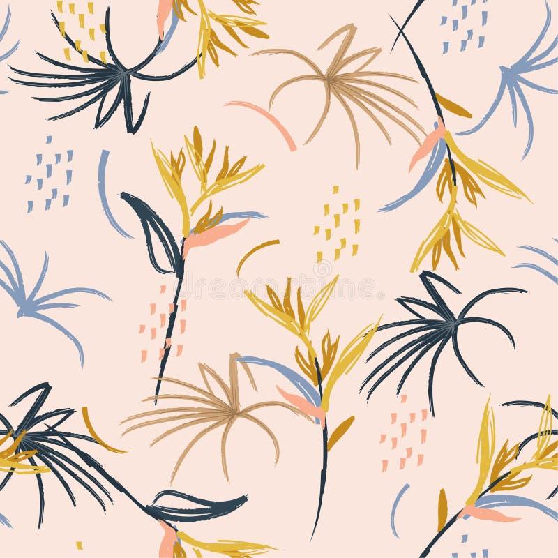 De borstel naadloos patroon van de pastelkleur Artistiek abstract waterverf van de de illustratiehand getrokken schets van de de  vector illustratie