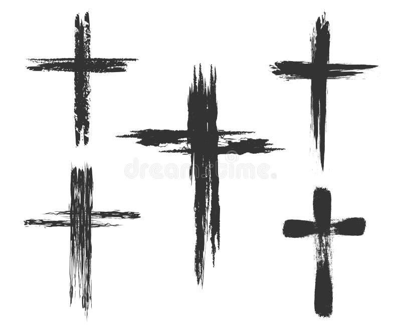 De borstel schilderde dwarspictogrammen vector illustratie