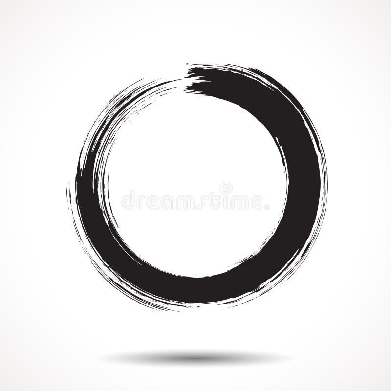 De borstel schilderde zwarte inktcirkel royalty-vrije illustratie