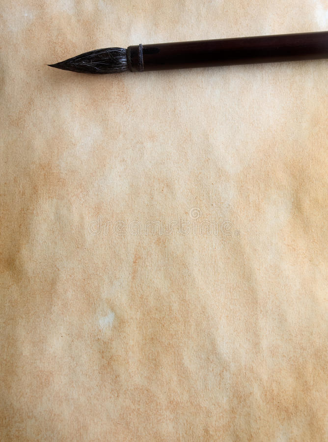 De borstel van de kalligrafie stock foto's