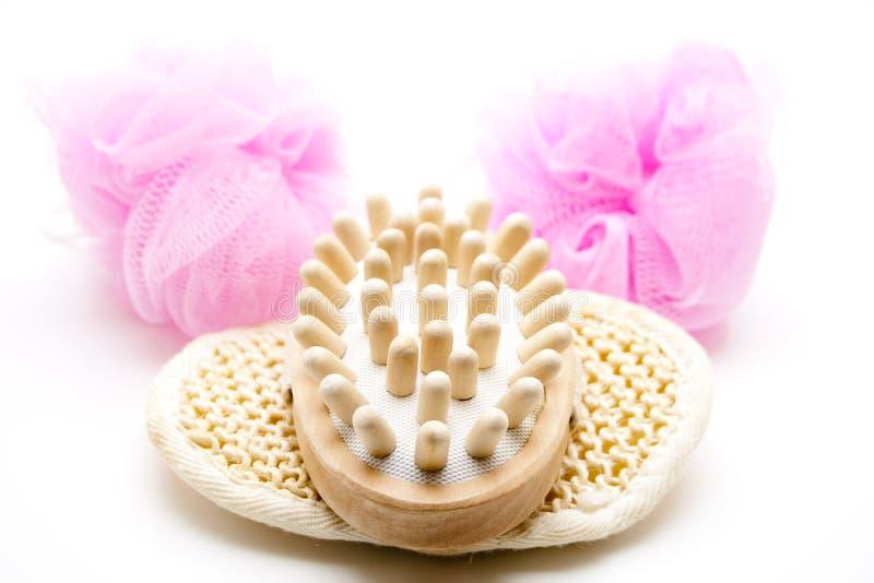 De borstel van de massage op spons stock foto