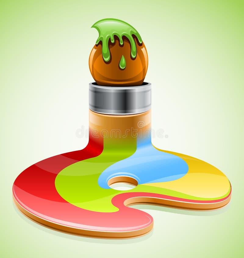 De borstel van de verf als symbool van visueel art. stock illustratie
