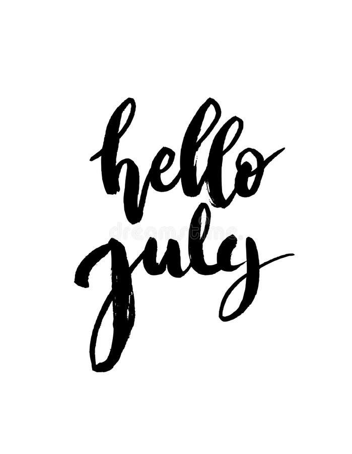 De borstel van Hello Juli het van letters voorzien stock illustratie
