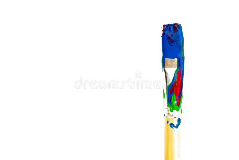 De borstel van de verf op witte achtergrond stock afbeelding
