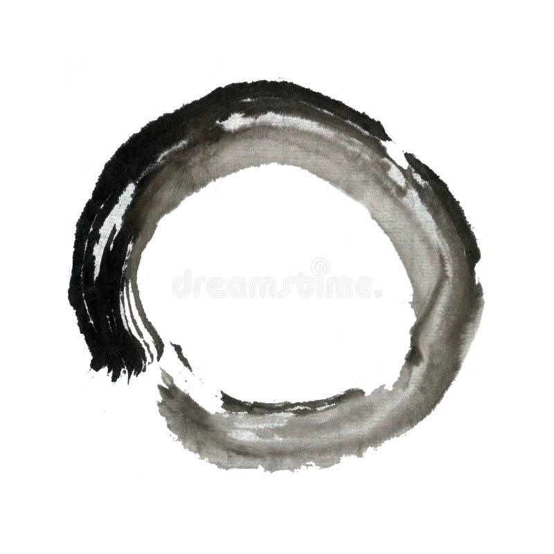 De borstel van Zen het schilderen cirkelring vector illustratie