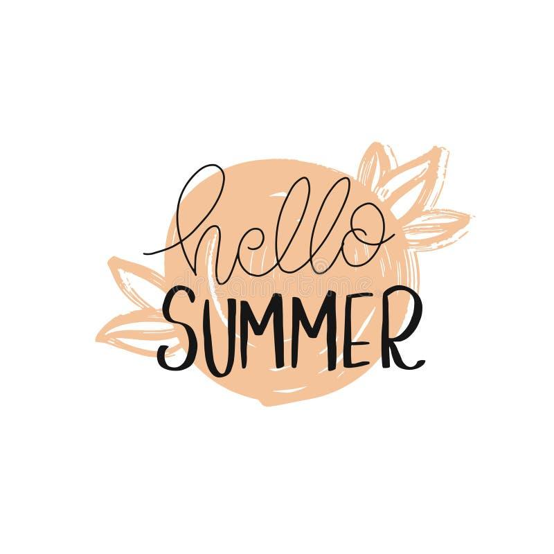 De Borstel van de zomervibes Hand getrokken het van letters voorzien samenstelling stock foto's