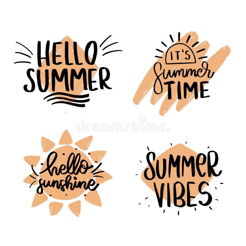 De Borstel van de zomervibes Hand getrokken het van letters voorzien samenstelling stock afbeelding