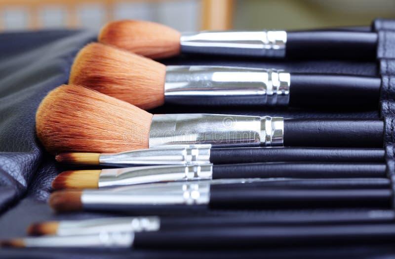 De borstelreeks van de make-up royalty-vrije stock afbeeldingen