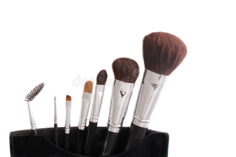 De Borstels van de make-up stock afbeeldingen