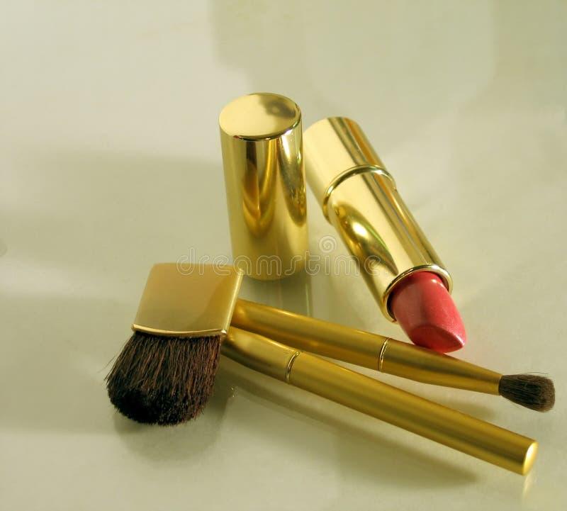 De Borstels van de make-up stock afbeeldingen