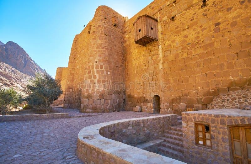 De borstwering van St Catherine Monastery, Sinai, Egypte stock foto