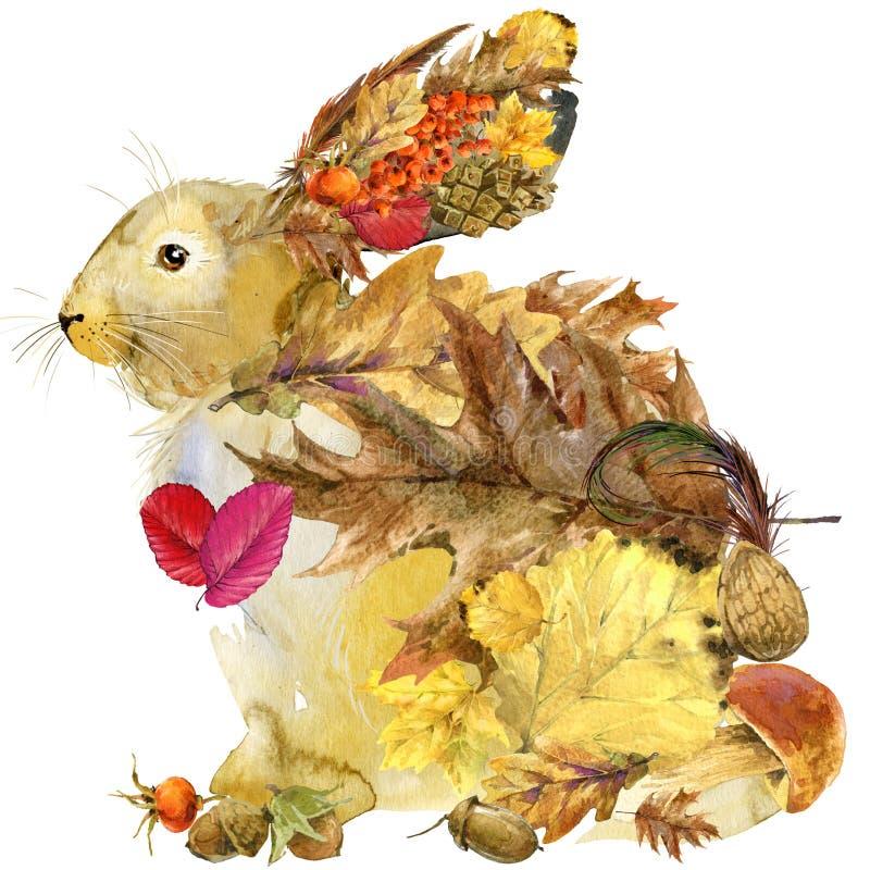 De bos dierlijke achtergrond van de aard kleurrijke bladeren van de hazenherfst, royalty-vrije illustratie