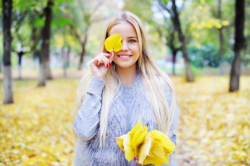 De bos van de vrouwenholding van gele de herfstbladeren stock afbeeldingen