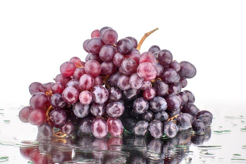 De bos van rode druiven op een witte spiegelachtergrond met bezinning en waterdalingen isoleerde dicht omhoog royalty-vrije stock foto's
