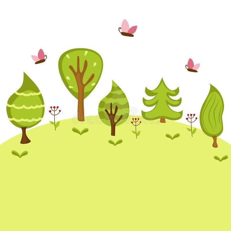 De bosachtergrond van de zomer vector illustratie